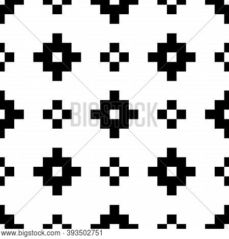 Seamless Pattern. Inca Crosses Ornament. Ethnic Embroidery Background. Tribal Wallpaper. Tribe Motif
