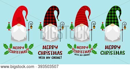 Set Of Cartoon Christmas Gnomes In A Red And Plaid Hats With A Trees, Text, Lanterns. Vector Charact