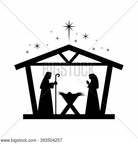 Christmas Nativity Scene With Baby Jesus, Mary And Joseph In The Manger.traditional Christian Christ
