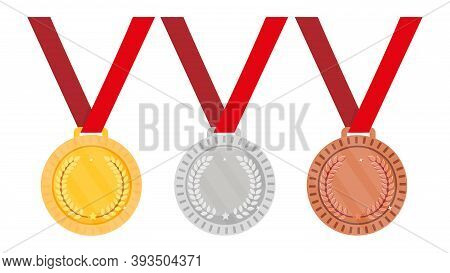 Set Of Medals - Gold, Silver And Bronze. Vector Illustration
