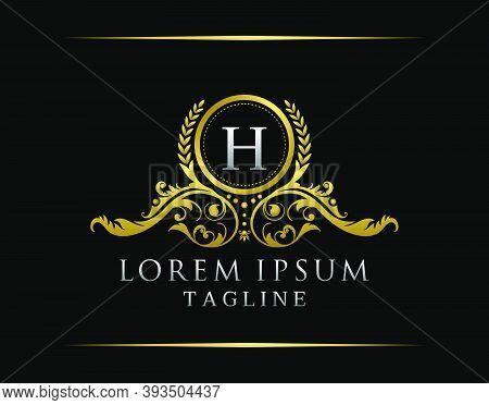 Luxury Boutique H Letter Logo. Luxury Badge Gold Design For Boutique, Royalty, Letter Stamp,  Hotel,