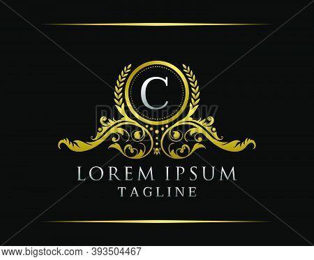 Luxury Boutique C Letter Logo. Luxury Badge Gold Design For Boutique, Royalty, Letter Stamp,  Hotel,
