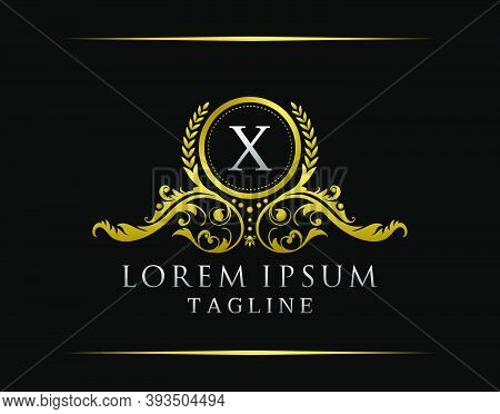 Luxury Boutique X Letter Logo. Luxury Badge Gold Design For Boutique, Royalty, Letter Stamp,  Hotel,