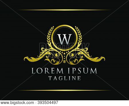 Luxury Boutique W Letter Logo. Luxury Badge Gold Design For Boutique, Royalty, Letter Stamp,  Hotel,