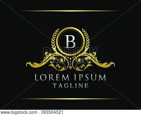 Luxury Boutique B Letter Logo. Luxury Badge Gold Design For Boutique, Royalty, Letter Stamp,  Hotel,