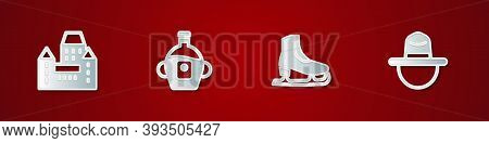Set Chateau Frontenac Hotel, Maple Syrup, Skates And Canadian Ranger Icon. Vector