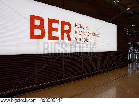 Schönefeld, Germany - November 1, 2020 - Logo / Lettering Of Berlin Brandenburg Airport (ber) - Will