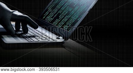 Collage Of Hacker Hand In Black Glove Using Laptop To Hacking System With Binary Code In Screen On T