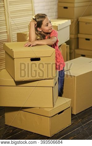 Live Like You Want. Happy Child Cardboard Box. Happy Little Girl. Purchase Of New Habitation. Moving