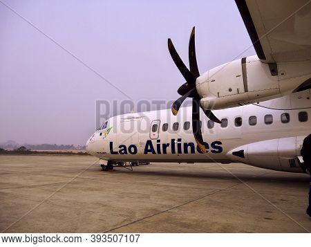 Luang Prabang, Laos - 26 Feb 2012: The Airplane Of Lao Airlines In Luang Prabang, Laos