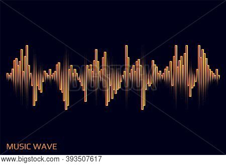 Modern Music Wave Logo. Digital Audio Concept. Stylized Wave Lines Elements. Vector Colorful Pulse E