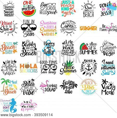 Collection Of Summer Phrases, Slogans Or Quotes