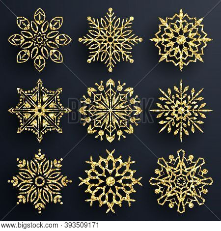 Snowflake Set Gold Glitter Texture Background. Christmas Decoration, Golden Snowflake With Bright Gl