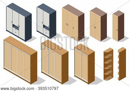 Isometric Various Elements Wooden Wardrobes Isolated On White Background For Creating A Interior Of