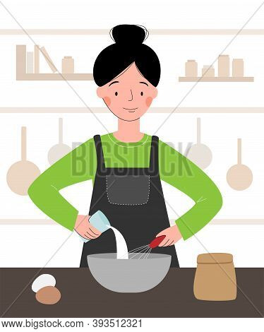 Vector Scene With A Cook In The Kitchen. Woman Cooking. Chef Woman