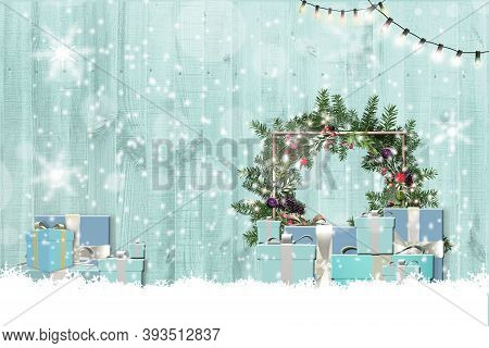 Holiday Background For New Year And Christmas In Blue Colour On Wooden Background With Snow. Xmas Gi