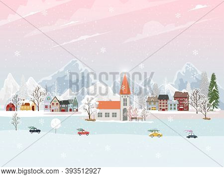 Winter Landscape In Village At Night With Snow Falling On Christmas Eve. Vector Illustration Cartoon