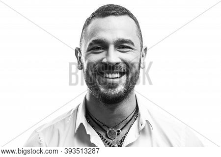 Attractive Elegant Male. Masculinity Concept. Portrait Of Sexy Handsome Fashion Man Model With Smile