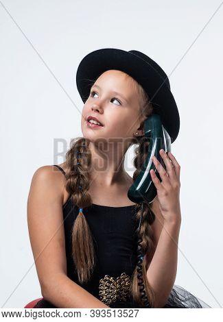 Nice Talk. Cheerful Girl With Retro Look Isolated On White. Kid Vintage Fashion. Child Speak On Retr