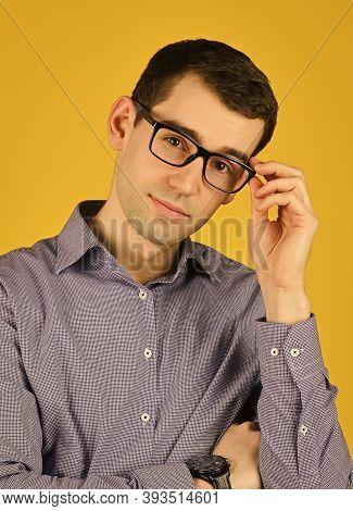 Eyewear. Choose Eyeglasses In Casual Style. Smart Boy. Bad Eyesight. Cool Guy Wear Eyeglasses Yellow