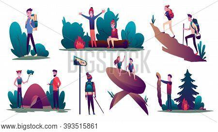 Hiking. Collection Of Young Peoples During Hiking Adventure Travel Or Camping Trip. Men And Women Pi