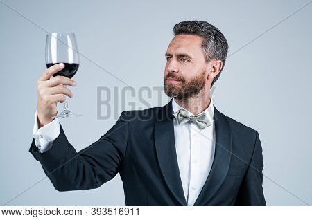 Sommelier. Guy Drink Red Wine. Cheers For Valentines Day. Alcohol Drinking. Handsome Male On Romanti