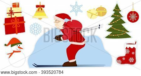 Christmas Set Of Stickers. Collection Of Holiday Objects: Santa Claus Is Skiing, Christmas Tree, Gif
