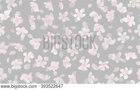 Flowers Japanese. Pink Apple Petal. Modern Chinese Background. Watercolor Romantic Repeat. Gray Flow