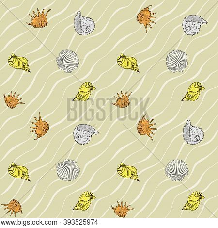 Seamless Vector Pattern With Seashells. Vector Background With Seashells. Can Be Used For Wallpaper,