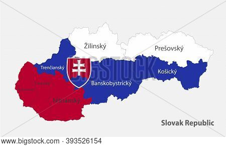 Map Of The Slovak Republic In The Colors Of The Flag Slovakia With Administrative Divisions Vector