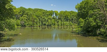 Verdant Growth On A Placid Lake In Matthiessen State Park In Illinois
