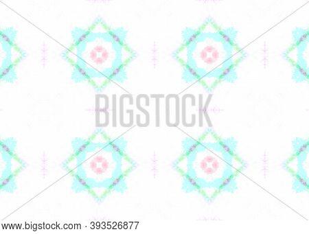 Seamless Aquarelle Pattern. Geometric Ethnic Decor. Pastel Color Design. Aquarelle Tie Dye Abstract