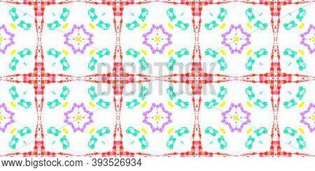 Tile Vintage Seamless Pattern. Geometric Vintage Wallpaper. Artistic Decoration. Multi Colorful Back