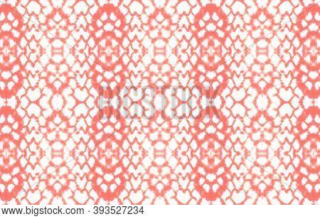 Seamless Predator Pattern. Red, Living Coral Color. Cobra Leather Animal Print. Trendy Safari Wallpa