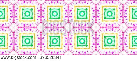Seamless Watercolor Geometry. Endless Rug Design. Ink Textured Bohemian Background. Colorful Portuga