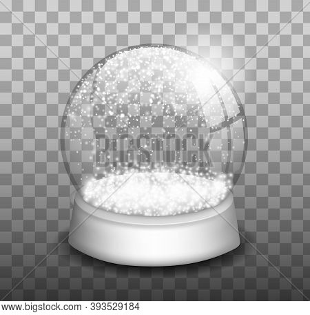 Snow Globe Or Christmas Ball Set Isolated On Transparent Background. Snow Globe. Realistic Christmas