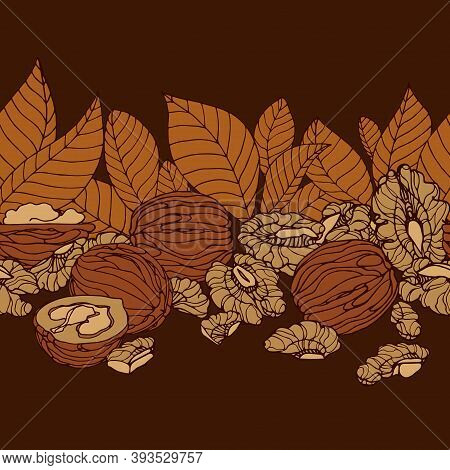 Horizontal Seamless Pattern Of Walnuts, Kernels & Leaves, For Menu Design Or Confectionery, Textiles