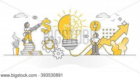 Creativity As Solution Invention And Profit Growth Monocolor Outline Concept. Bright Idea Breakthrou