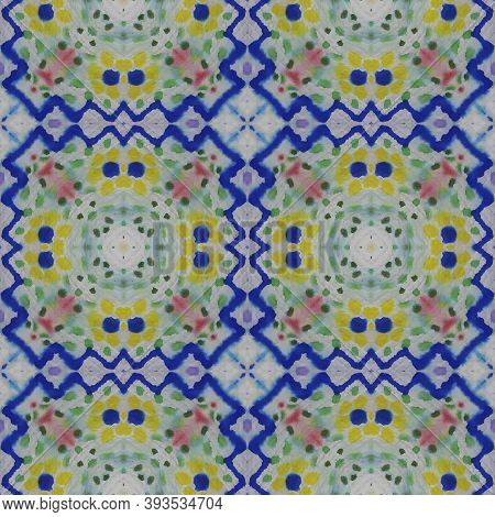 Tribal Boho Pattern. Abstract Shibori Design. Repeat Tie Dye Illustration. Ikat Turkish Print. Blue,
