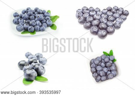 Group Of Bogbilberry Isolated On A White Background Cutout
