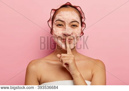 Horizontal View Of Pretty Asian Lady With Foam On Face, Cleans From Dirt, Wants To Have Refreshed Lo