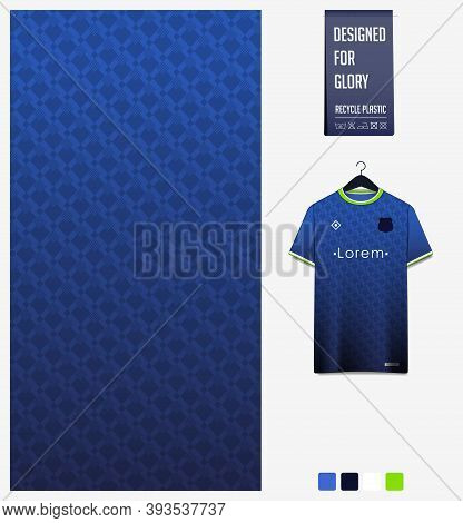 Fabric Pattern Design. Geometric Pattern On Blue Background For Soccer Jersey, Football Kit, Bicycle
