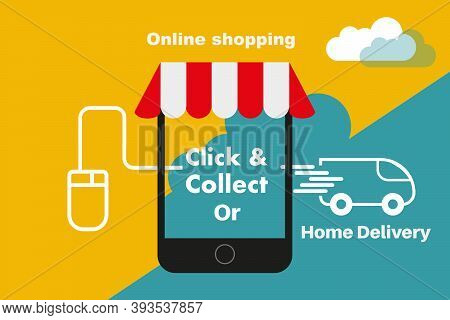 Click And Collect Internet Shopping And Home Delivery Concept