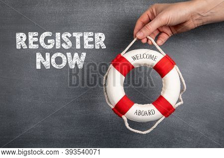 Register Now. Business, Internet, Survey And Open Enrollment Concept. Black Chalk Board