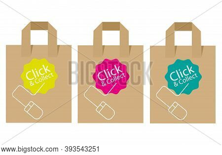 Click And Collect Internet And Online Shopping Concept With Eco Friendly Recyclable Carrier Bags On