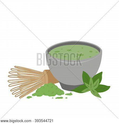 Japanese Matcha Green Tea Powder. Traditional Tea Ceremony. Cup Of Tea, Matcha Powder, Whisk And Gre