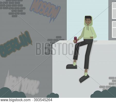 Vector Simple Character Sitting On The Wall With A Can Of Soda In His Hand On The Background Of A St