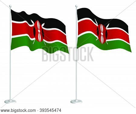 Kenya Flag On Flagpole Waving In Wind. Holiday Design Element. Checkpoint For Map Symbols. Isolated