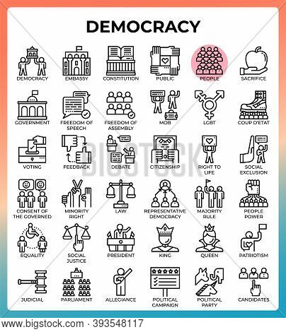 Democracy Concept Line Icons Set In Modern Style For Ui, Ux, Web, App, Brochure, Flyer And Presentat