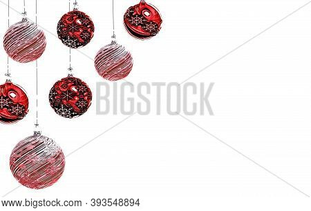 Beautiful Christmas Background With Christmas Toys Hanging On Ropes